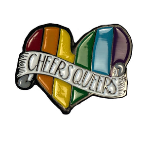 "RAINBOW HEART ""CHEERS QUEERS"" PRIDE - ENAMEL PIN"