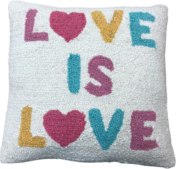 LOVE IS LOVE WOOL HOOKED PILLOW