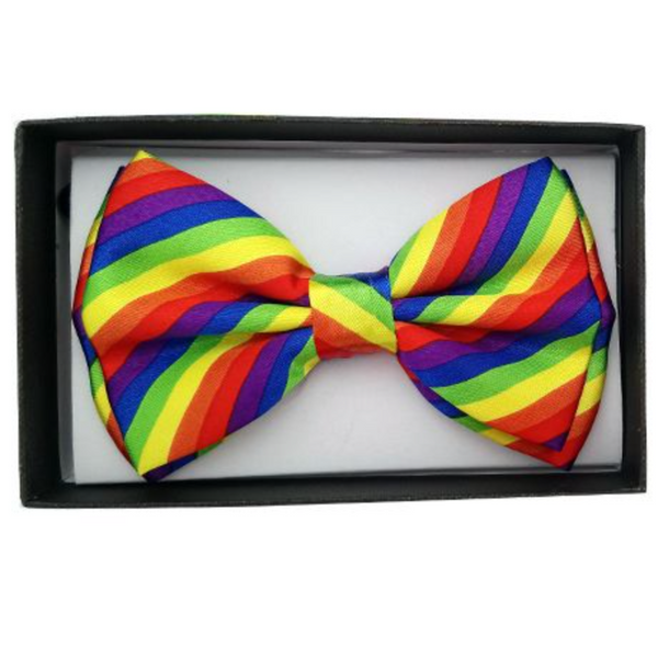 DIAGONAL RAINBOW STRIPE BOWTIE