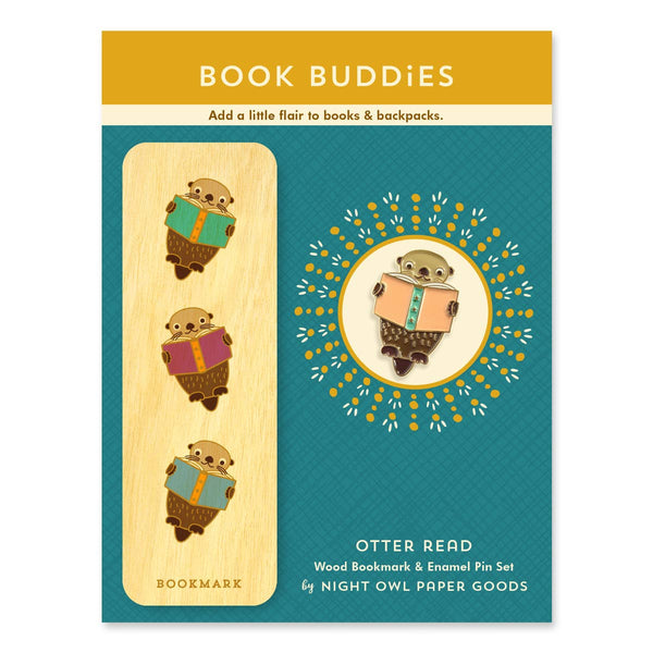 OTTER READ ENAMEL PIN & BOOK MARK SET