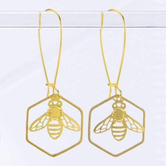 HONEYBEE & HEXAGON EARRINGS