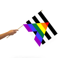 STRAIGHT ALLY PRIDE FLAG ON A STICK