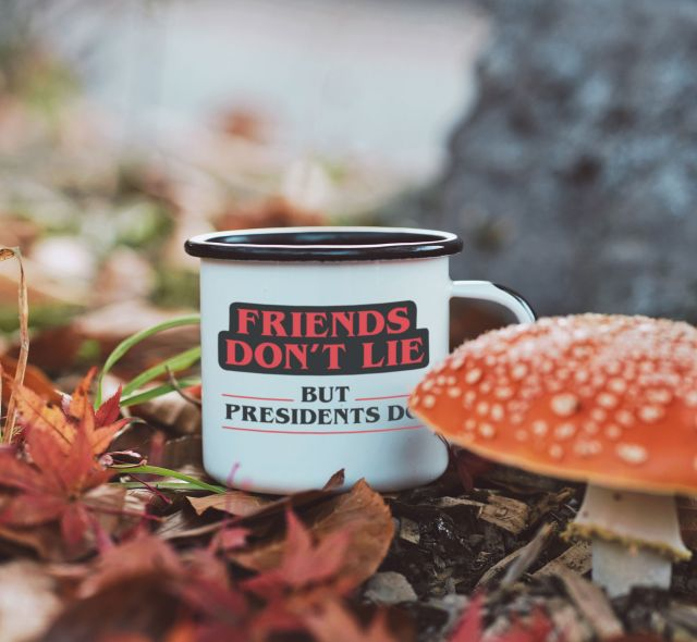 FRIENDS DON'T LIE BUT PRESIDENTS DO ENAMEL 16oz MUG