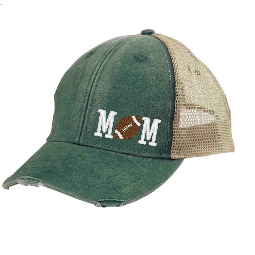 Football Mom Off-Center Green and White Trucker Hat