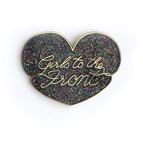 GIRLS TO THE FRONT GLITTER ENAMEL PIN