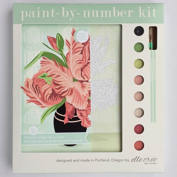 FEATHERY EDGE TULIPS IN VASE PAINT BY NUMBERS KIT