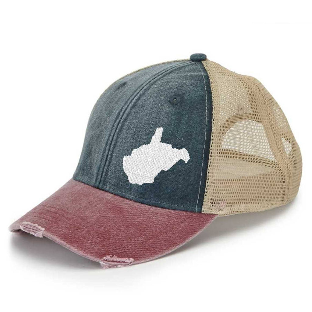 WV - Off-Center Red White and Blue Trucker Hat