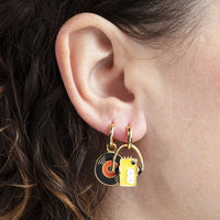 WALKMAN & VINYL RECORD DANGLE EARRINGS