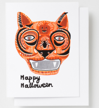 CAT MASK HALLOWEEN CARD