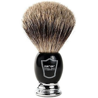 Black and Chrome Parker Pure Badger Shaving Brush - Lather and Blade
