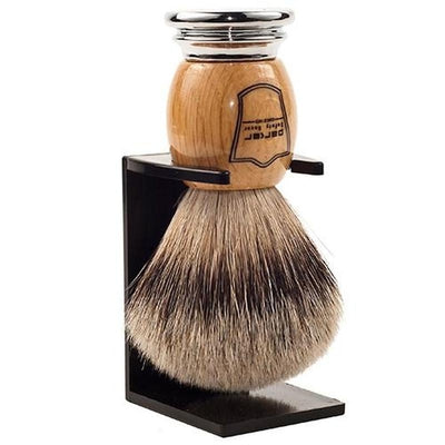 Deluxe Wood & Chrome Silvertip Badger Brush - Lather and Blade