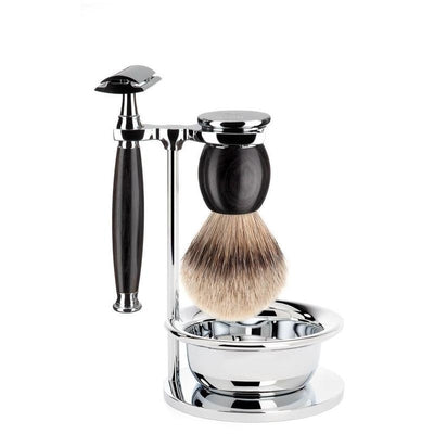 African Blackwood Set by Muhle - Silver Tip Badger | Safety Razor | Soap Dish - Lather and Blade