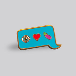 Eye Heart Eggplant pin - GAYPIN'