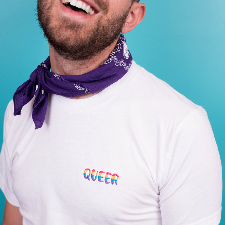 Queer Rainbow Embroidered T-Shirt