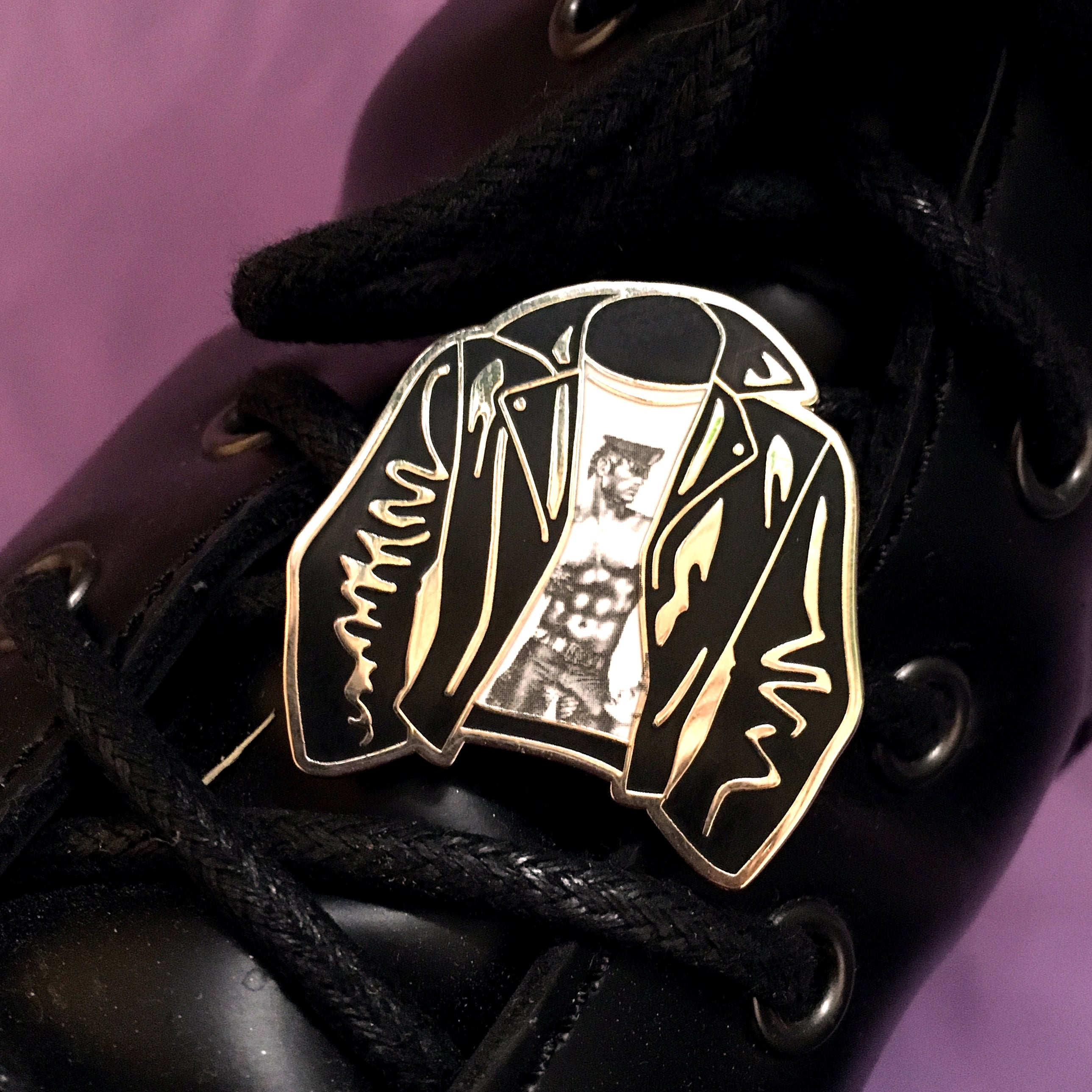 Tom Of Finland Leather Jacket Pin - GAYPIN'