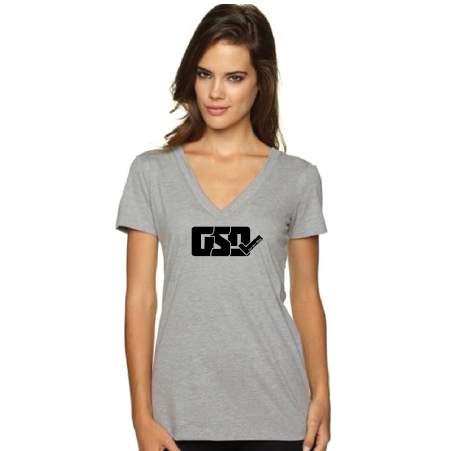 GSD Women's V-Neck - Heather Gray / Black