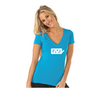 GSD Women's V-Neck - Turquoise / White