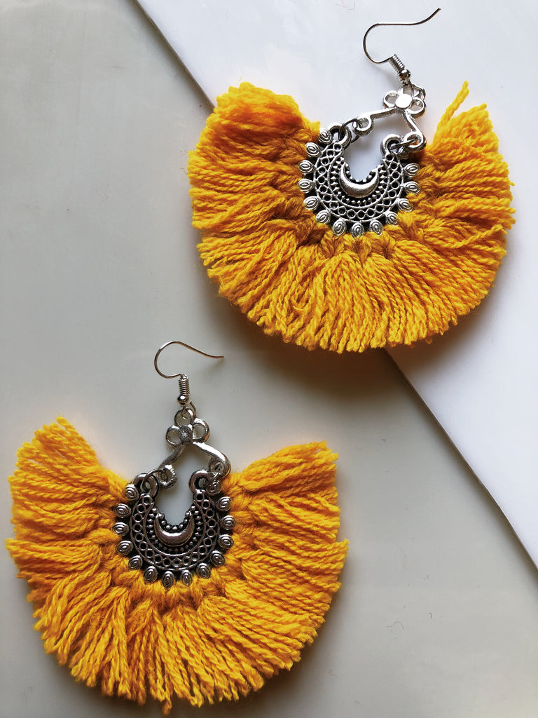 small yellow tassel earrings