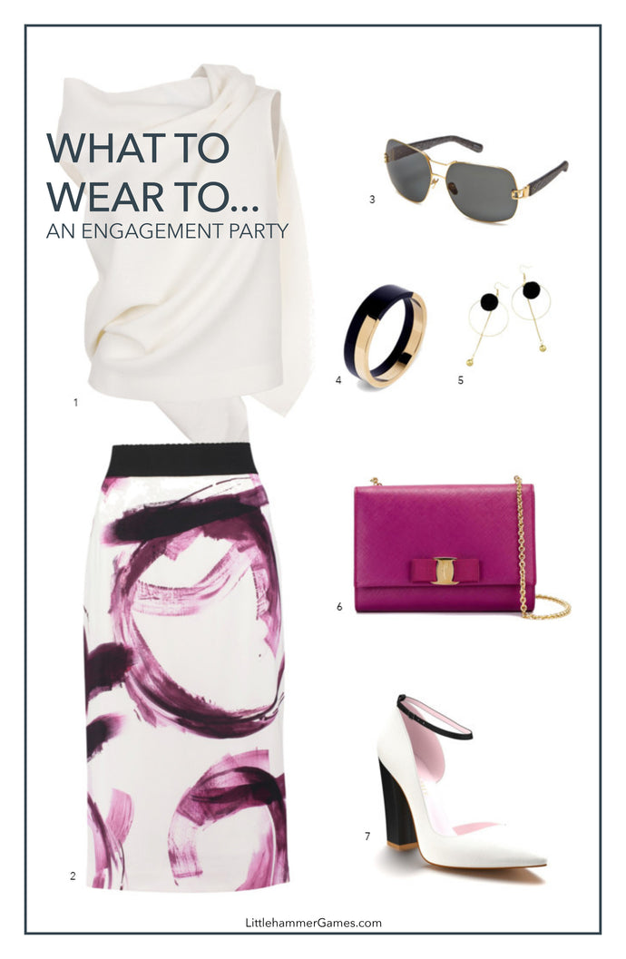 What To Wear To An Engagement Party - Purple Watercolor Skirt