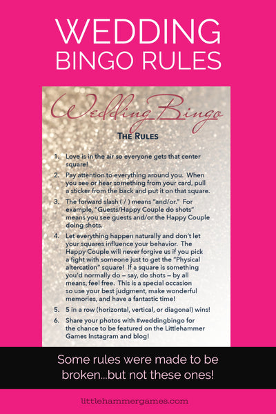 Wedding Bingo Rules: These Rules Weren't Made To Be Broken