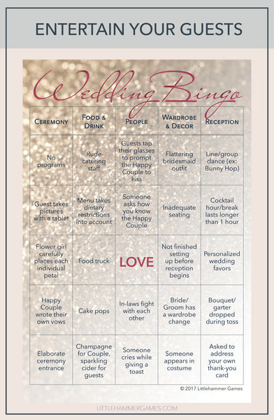 Wedding Bingo wedding reception game card with text overlay