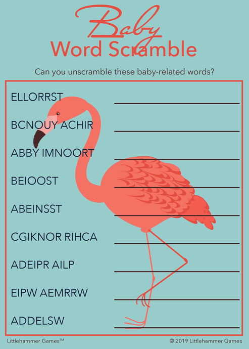 Baby Word Scramble game card with a bright flamingo on a blue background