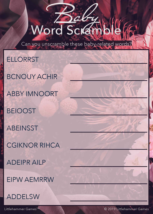 Baby Word Scramble game card with a dark floral background