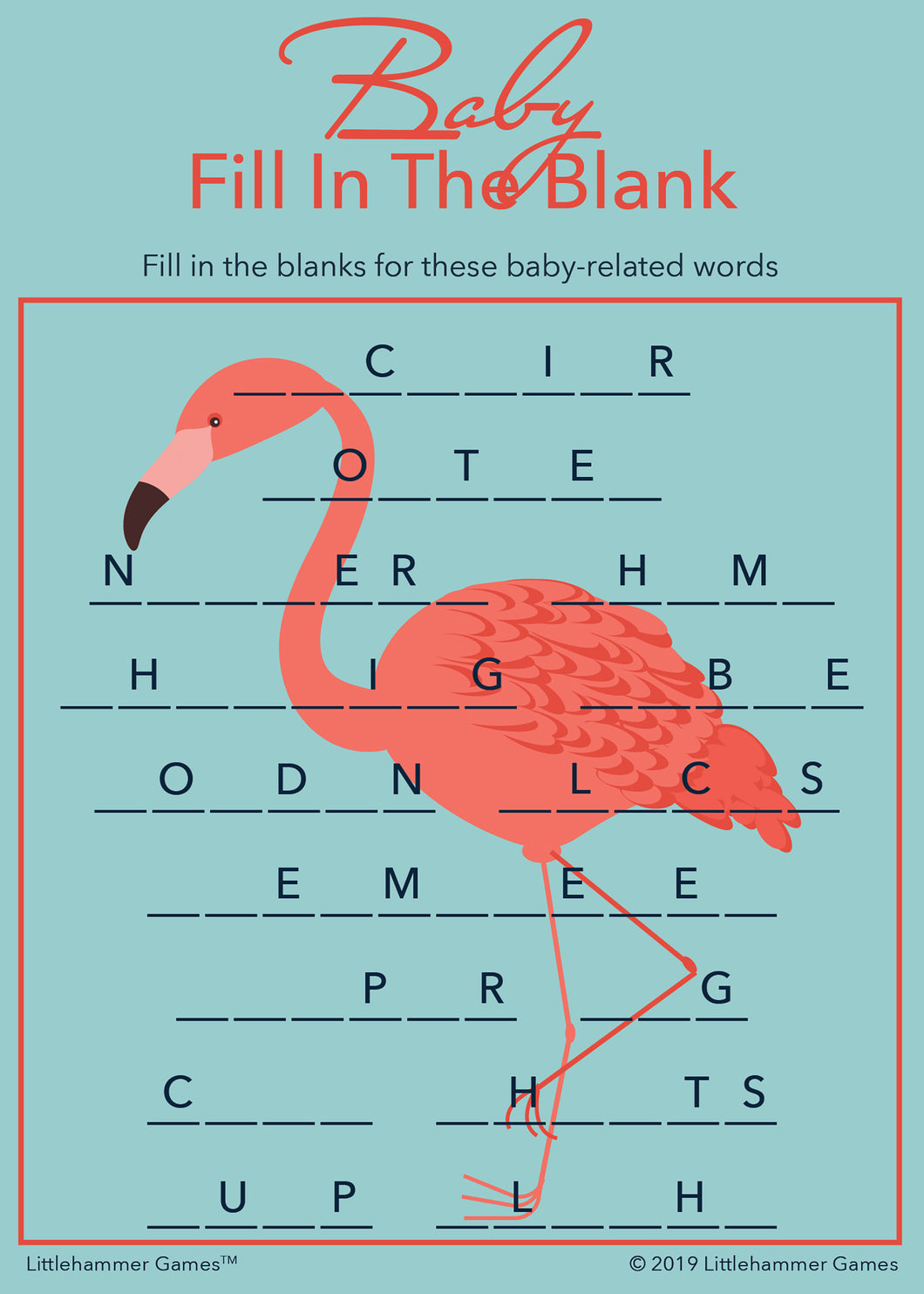 Baby Fill in the Blank game card with a bright flamingo on a blue background