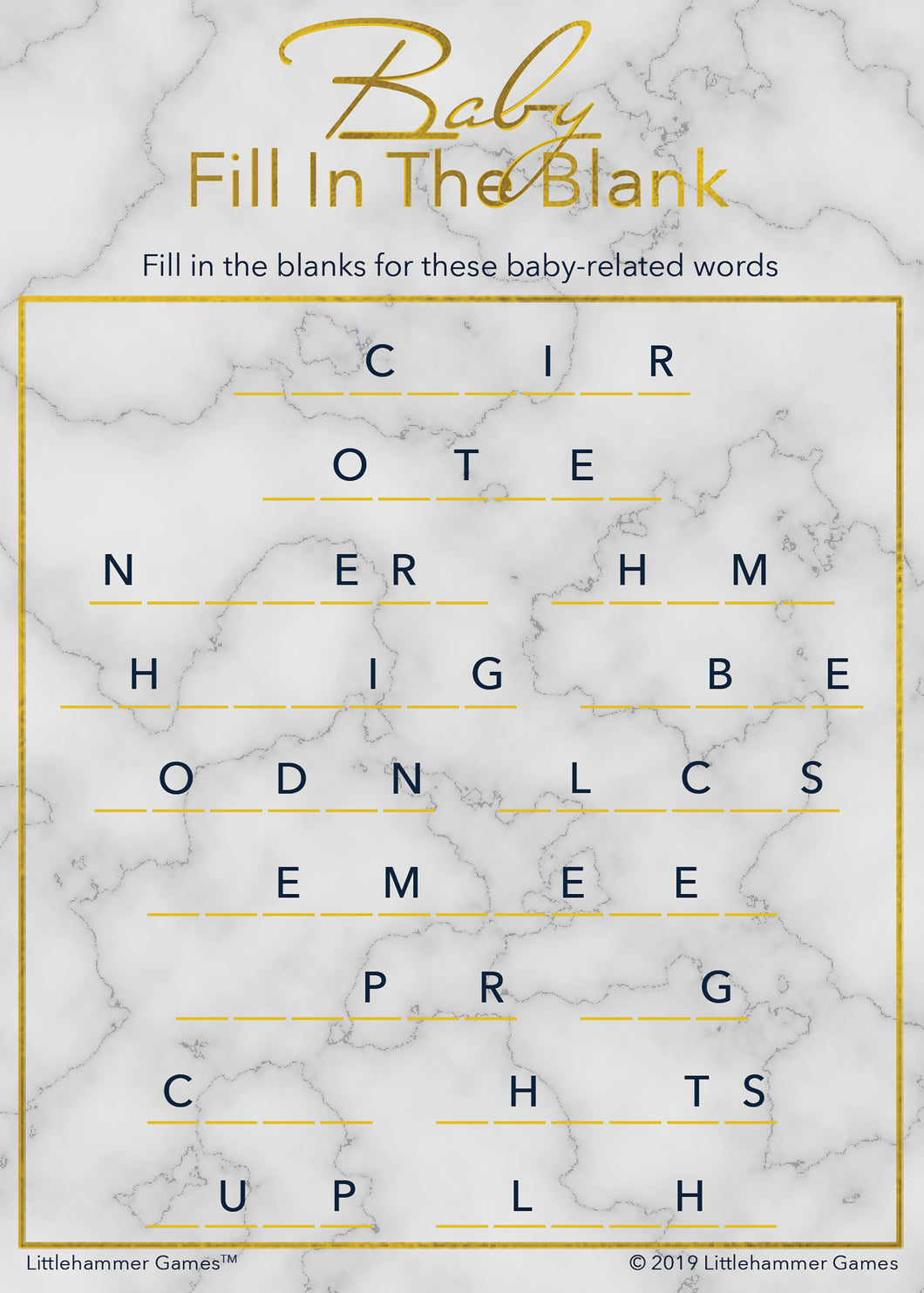 Baby Fill in the Blank game card with gold text on a marble background