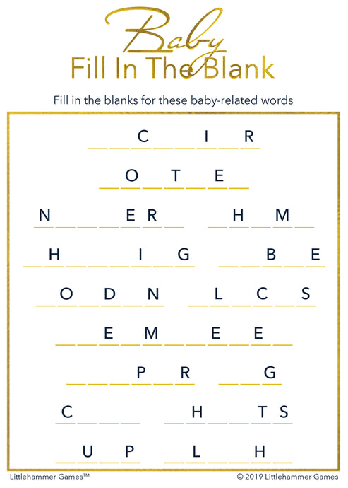Baby Fill in the Blank game card with gold text on a white background