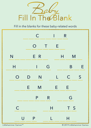 Baby Fill in the Blank game card with gold text on a mint background