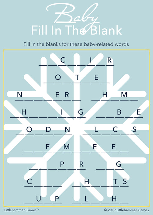 Baby Fill in the Blank game card with a blue snowflake background
