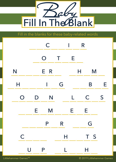 Baby Fill in the Blank game card with a green striped background