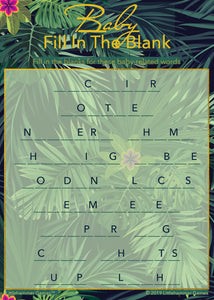 Baby Fill in the Blank game card with a tropical background