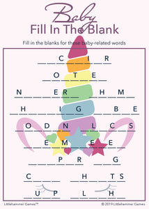 Baby Fill in the Blank game card with a pink and rainbow unicorn background