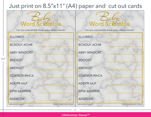 Baby Word Scramble gold and marble game cards with printing instructions