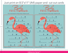 Load image into Gallery viewer, Baby Fill in the Blank flamingo game cards with printing instructions
