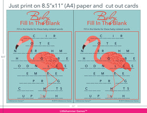 Baby Fill in the Blank flamingo game cards with printing instructions