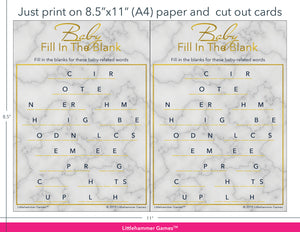 Baby Fill in the Blank gold marble game cards with printing instructions