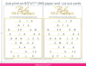 Baby Fill in the Blank gold game cards with printing instructions
