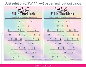 Baby Fill in the Blank hologram game cards with printing instructions
