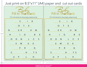 Baby Fill in the Blank mint and gold game cards with printing instructions