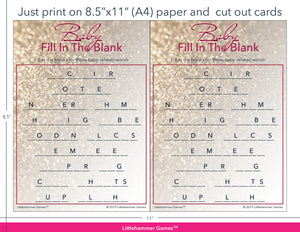 Baby Fill in the Blank glittery rose gold game cards with printing instructions