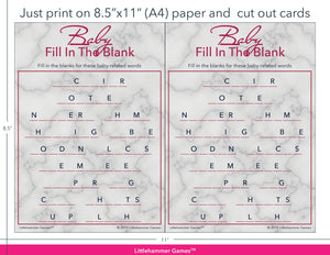 Baby Fill in the Blank rose gold marble game cards with printing instructions