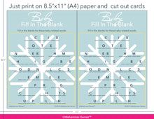 Load image into Gallery viewer, Baby Fill in the Blank snowflake game cards with printing instructions
