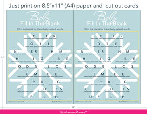 Baby Fill in the Blank snowflake game cards with printing instructions