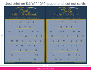 Baby Fill in the Blank celestial game cards with printing instructions