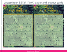 Load image into Gallery viewer, Baby Fill in the Blank tropical game cards with printing instructions