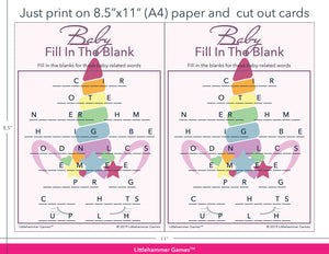 Baby Fill in the Blank unicorn game cards with printing instructions