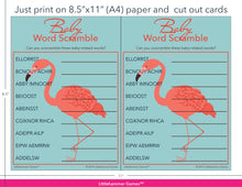 Load image into Gallery viewer, Baby Word Scramble flamingo game cards with printing instructions